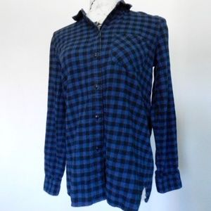 Madewell Slim Blue & Black Plaid Button Down M